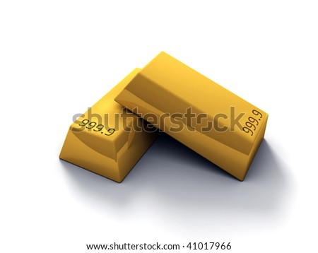 3D rendered image of Gold bars