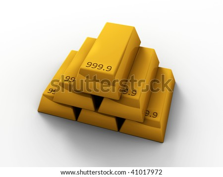 3D rendered image of Gold bars - stock photo