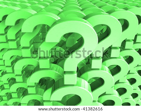 3D rendered image of many question marks - green background - stock photo