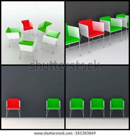 3d rendered image set of modern 3d chairs in different arrangement scenarios. Individuality, leadership, diversity, meeting concept.