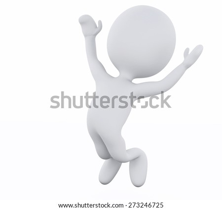3d rendered image. White people jumping by happy. Isolated white background - stock photo