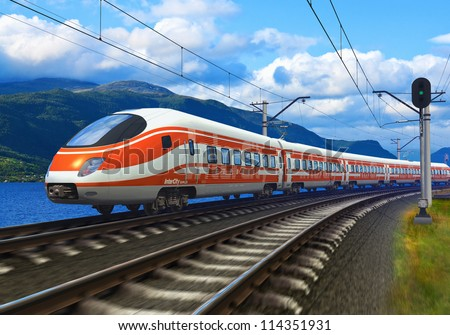 3D rendered image with original design: high speed train driving across mountain scenery with motion blur effect - stock photo