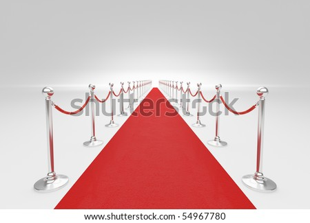 3d rendered images, red carpet and barrier rope background.
