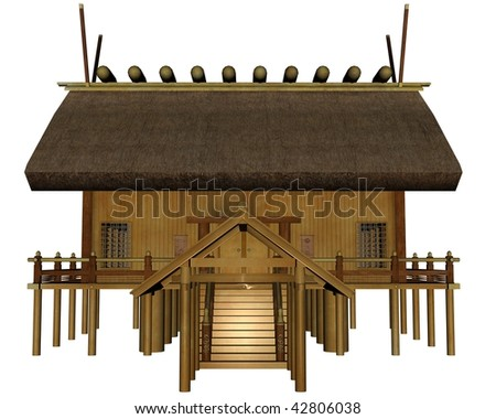 3D rendered imperial shrine on white background isolated - stock photo