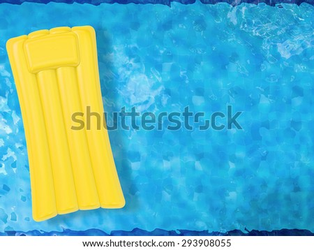 3d rendered inflatable raft on pool top view  - stock photo