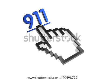 911. 3d rendered inscription. Link and finger, pointer. Isolated on white - stock photo