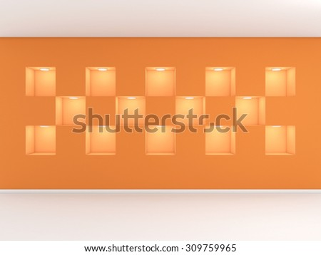 3d rendered interior composition of exhibition space. - stock photo