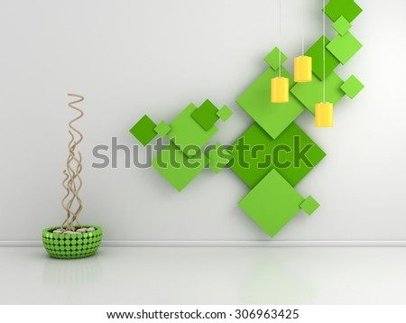 3d rendered interior composition with colorful pictures on the wall. - stock photo