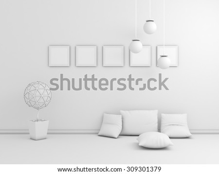 3d rendered  interior composition with colorful pictures on wall. - stock photo