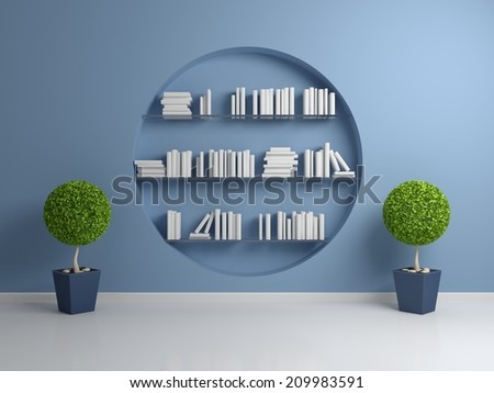 3d rendered interior composition with empty books on shelves. - stock photo