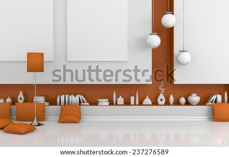 3D rendered interior composition with empty canvases on wall. - stock photo