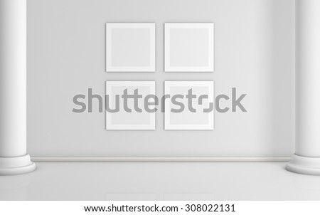 3d rendered  interior composition with pictures on wall. - stock photo