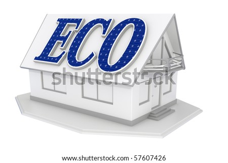 3d rendered isolated white house with solar panels on the roof made of characters - stock photo