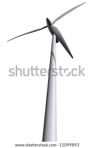 3D rendered isolated wind turbines in white background