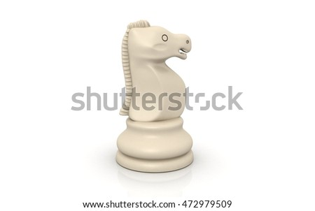 3D rendered knight chess piece on white background
