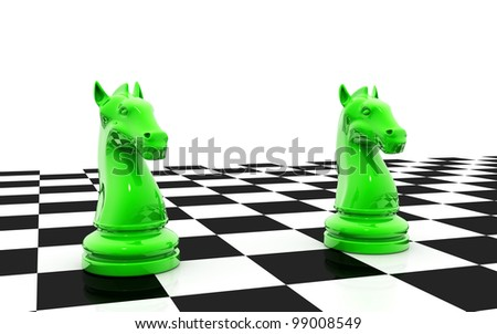 3d rendered knight chess pieces - stock photo
