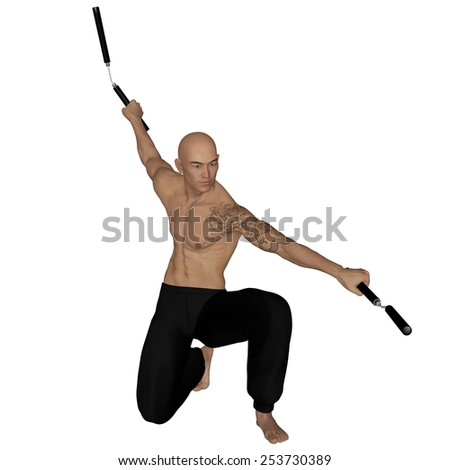 3D rendered Kung Fu monk with nunchaku on action poses on white background isolated - stock photo