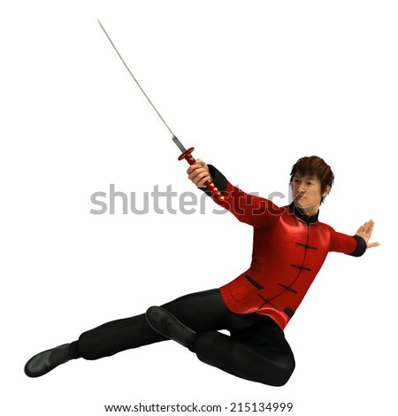3D rendered kung fu warrior with sword on white background isolated - stock photo