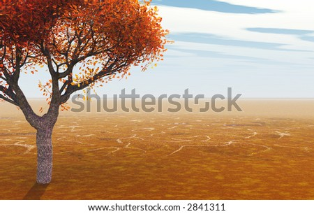 3d rendered landscape showing autumn maple in flat area