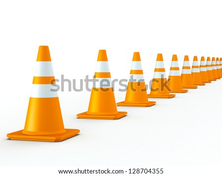 3D Rendered Line of Orange Traffic Cones on White Background - stock photo