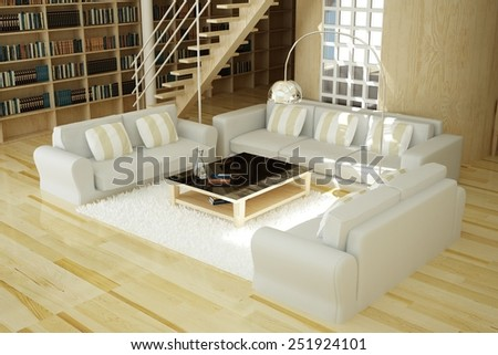 3D rendered living room - stock photo