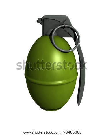3D Rendered M61 Grenade on a White Background - stock photo