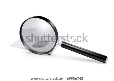 3D rendered magnifying glass over fingerprint - stock photo