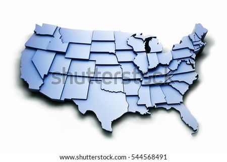 3D rendered map of United States with states. Isolated with work PATH