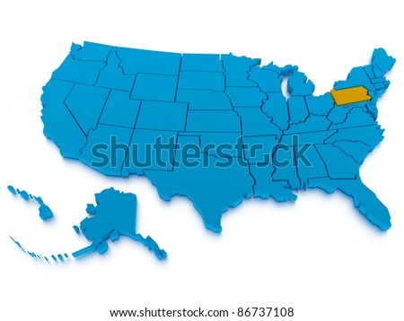 3d rendered map of USA - stock photo