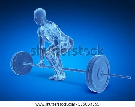 3d rendered medical illustration - correct lifting posture - stock photo