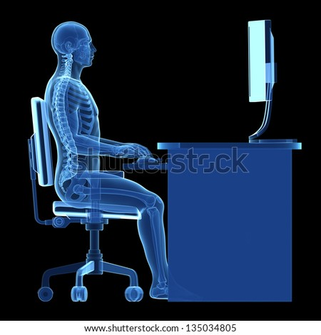 3d rendered medical illustration - correct sitting posture - stock photo