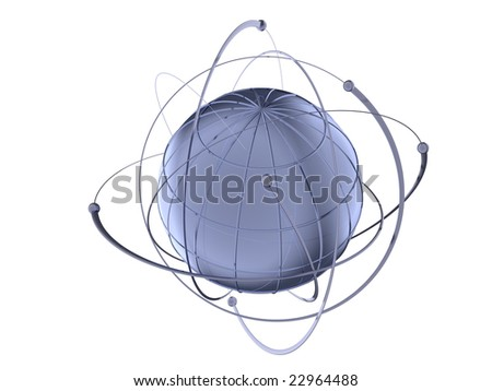 3D rendered metal Globe with wired orbits of satellite - stock photo