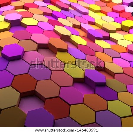 3D rendered multicolored abstract tiled background