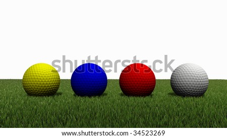 3d rendered of colored golf ball on green grass with white background