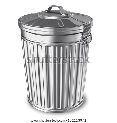 3D rendered of trash can on white background with shadow - stock photo