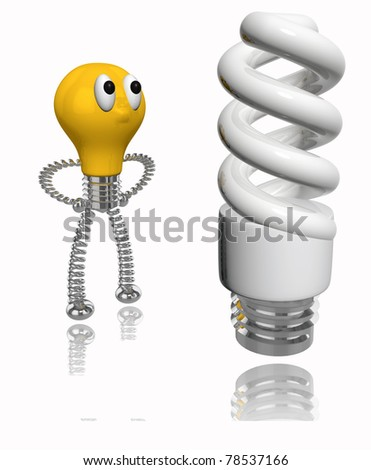 3D rendered orange old bulb looking  at energy saving fluorescent light bulb on white - stock photo