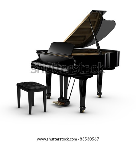 3D rendered piano. - stock photo