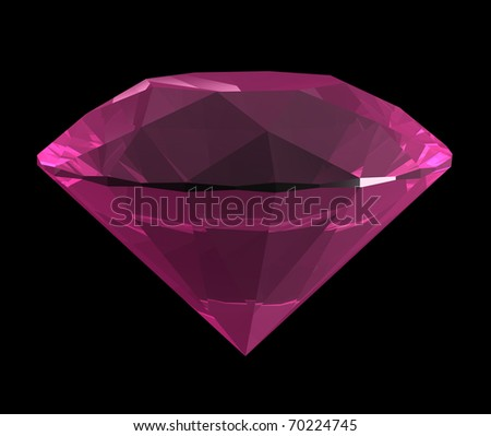 3d rendered pink diamond on black background