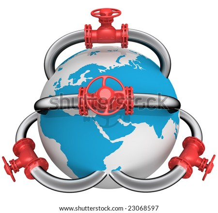 3D rendered pipeline with globe on white - stock photo