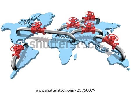 3D rendered pipelines on world map - stock photo