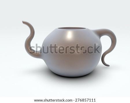 3D Rendered porcelain teapot on white background - stock photo