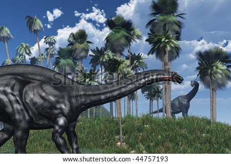 3D rendered prehistoric landscape featuring an apatosaurus dinosaur in the foreground, and a brachiosaurus at a distance.