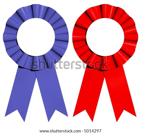 3D rendered red and blue award ribbons isolated on white - stock photo