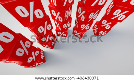 3D rendered red cubes labeled percent on white background.