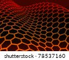 3D rendered red glossy graphene molecular structure on black background - stock vector