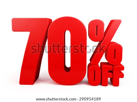 3D Rendered Red 70% Percent off Word Title for Discount Sale Promotions. Isolated in White Background with Clipping Paths - stock photo
