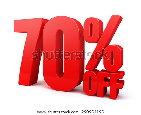 3D Rendered Red 70% Percent off Word Title for Discount Sale Promotions. Isolated in White Background with Clipping Paths