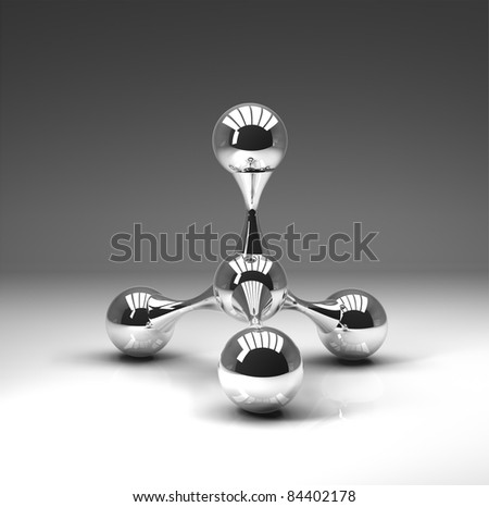 3D rendered reflective atomic structure on gray background