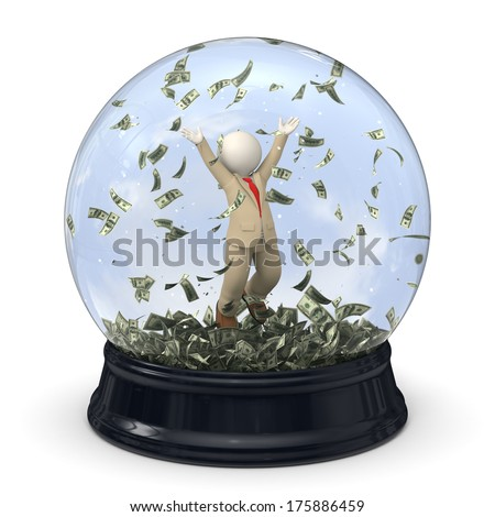 3d rendered rich business man in suit, jumping in money rain in a snow globe - stock photo