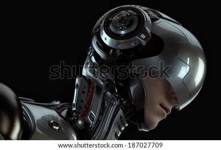 3d rendered robotic Girl in helmet - stock photo